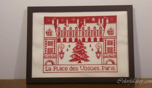 パリの街並みのステッチ(ヴォージュ広場)-額装